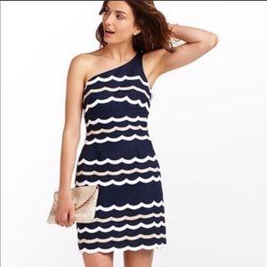 Lilly Pulitzer One Shoulder Navy Tylar Dress